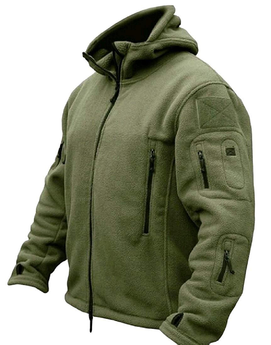 Comaba Mens Retro Army Pockets Collection Zip-up Outwear Sweatshirt