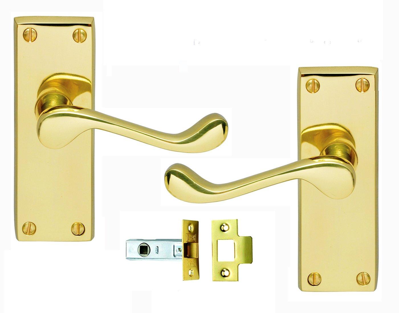 Victorian Scroll Brass Door Handle & Latch Set: 3 Pairs of Brass ...