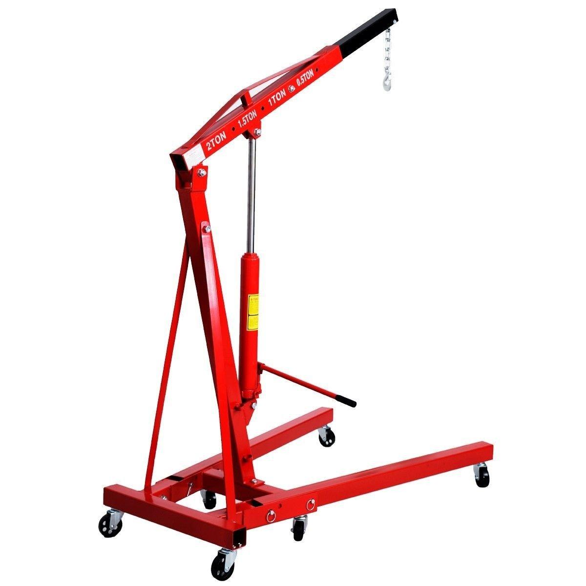 2 TON Red Color 4000 lb Engine Motor Hoist Cherry Picker Shop Crane Lift New Ton Adjustable Height Black Tool Us Pump Cherry Picker Hoist Pneumatic Useful BESTChoiceForYou