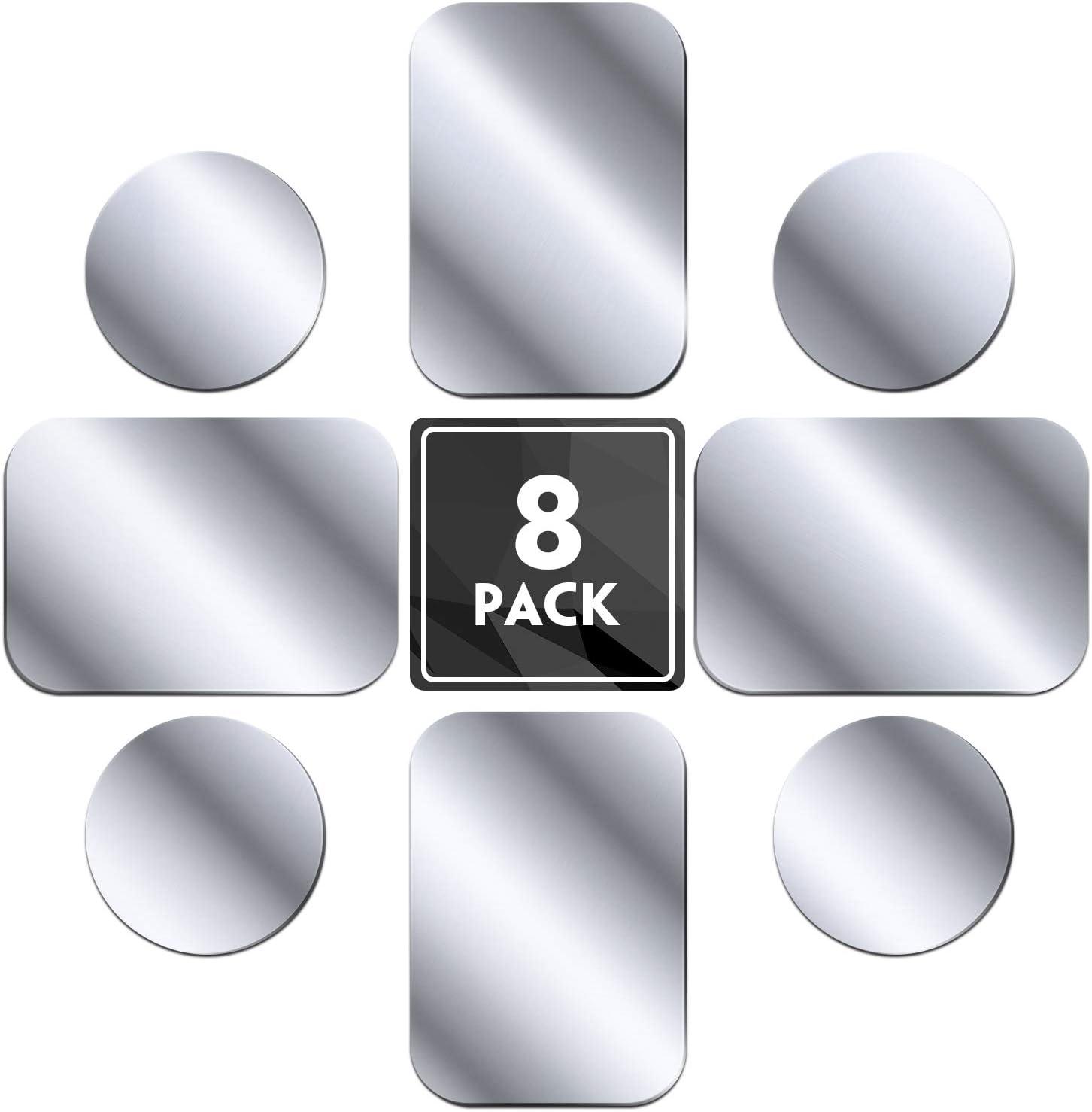 MENNYO Láminas Metálicas 8 Piezas para Soporte iman movil Coche, Reemplazo de Placa de Metal Muy Finas Adhesivo Soporte movil Coche magnético - 4 Redondos y 4 rectángulos