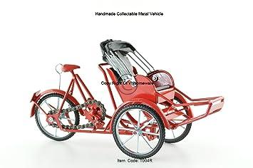 Xich-lo modelo, a mano de 3 ruedas de la bicicleta carrito tirado, color rojo, T004R: Amazon.es: Hogar
