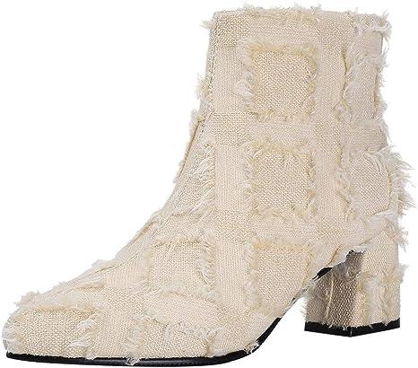 ღLILICATღ Moda Mujer Tacones Cuadrados Cremallera Borla PañO Botines Cortos Zapatos De Puntiaguda Botines de Fiesta de Bodas 35-43: Amazon.es: Deportes y aire libre