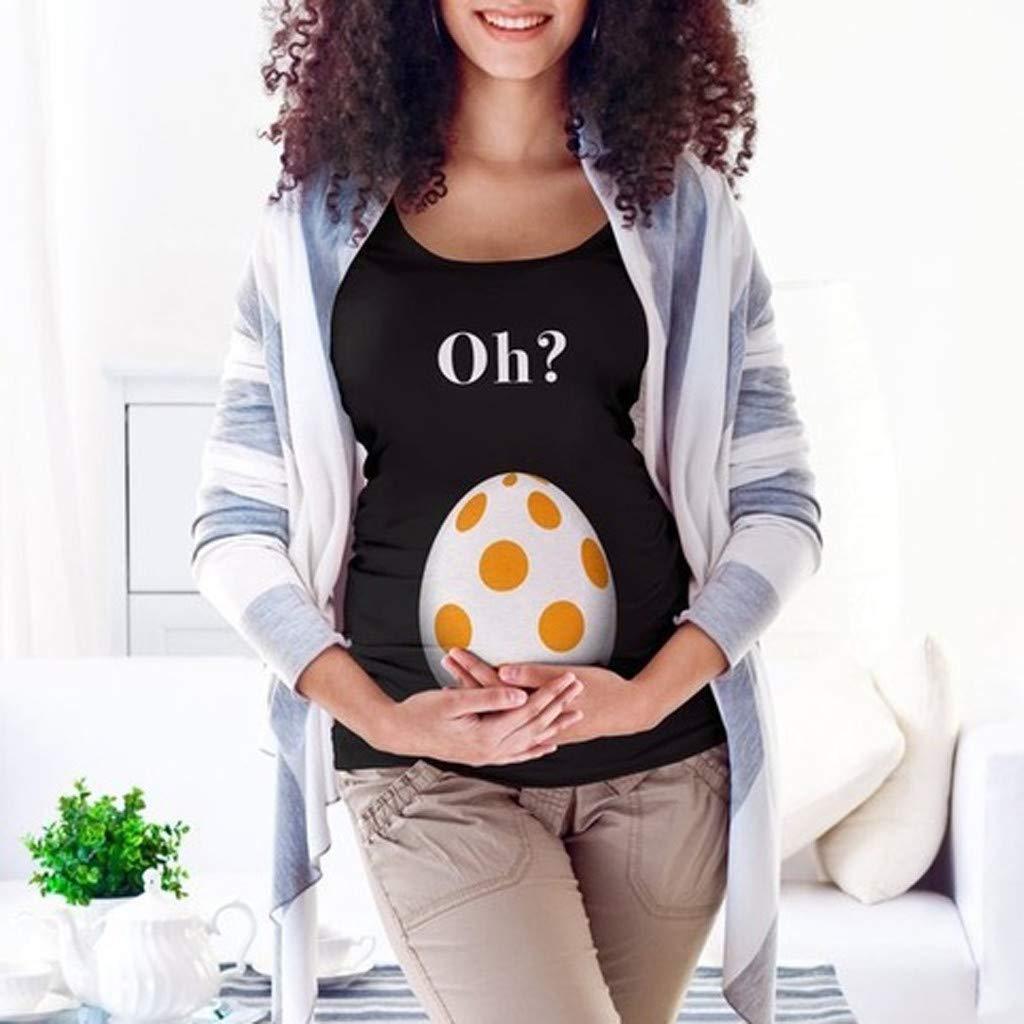Amphia Mutterschaftsbuchstaben der Frauen Mutterschafts-Osterei-T-Shirt Tops Schwangerschaft kleiden Frau Ostern Schwangere Frauen kurz/ärmelige Schale Ei Briefe Mutterschaft Kleid Hemd T-Shirt?