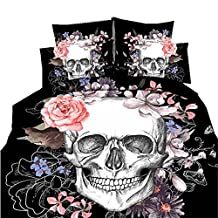 Halloween Skull 3D 4Pcs Bedding Set Bedclothes Duvet Cover Flat Fitted SheetFitted sheet style for King^^^skull-1