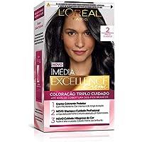 Coloração Imé Excellence, L'Oréal Paris, Preto Classico 2, L'Oréal Paris, 1, Coloração Imédia, pacote de 12