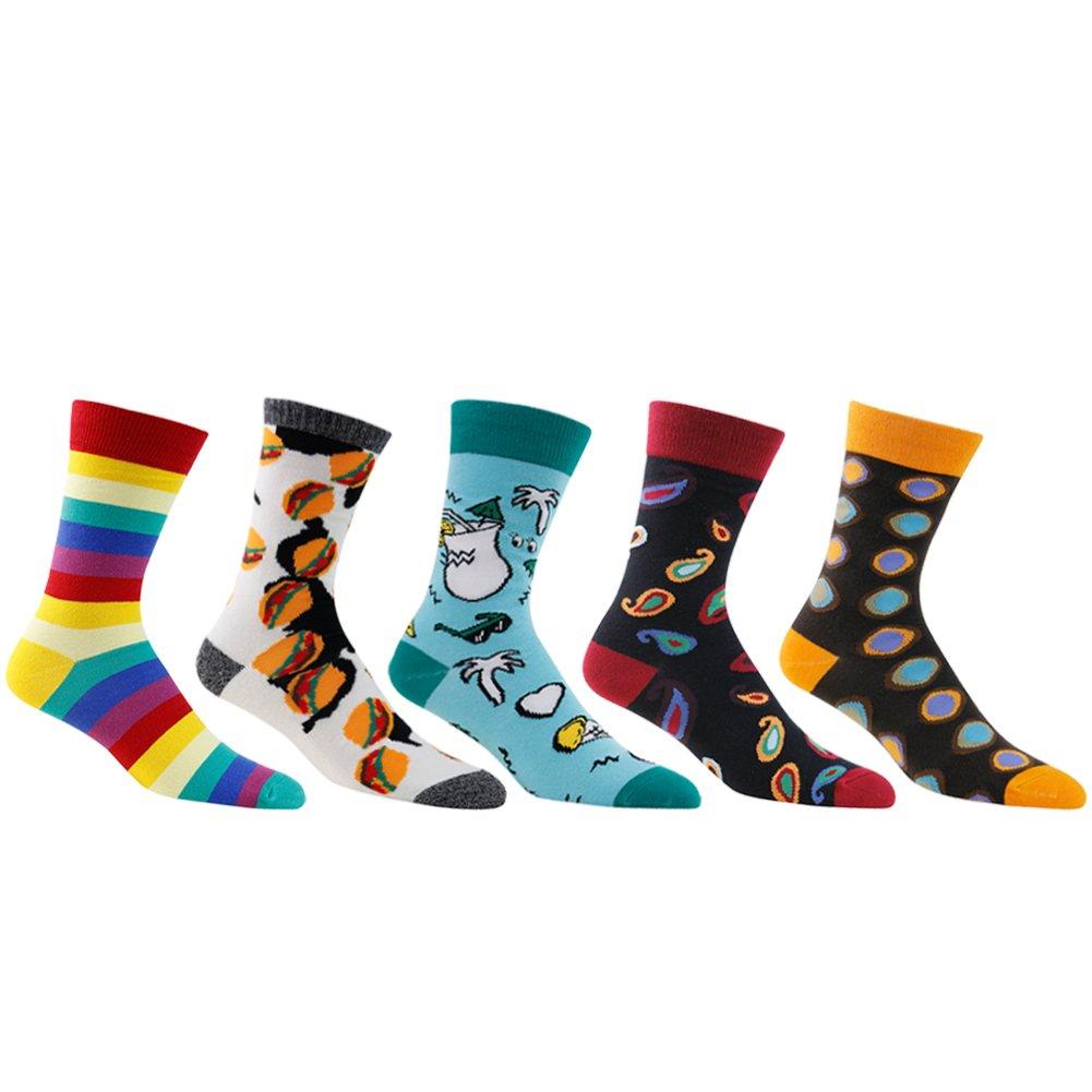 Socks Cotton Colorful, diwollsam 5 Pairs Wedding Fun Hamburger Themed Cartoon Dress Socks