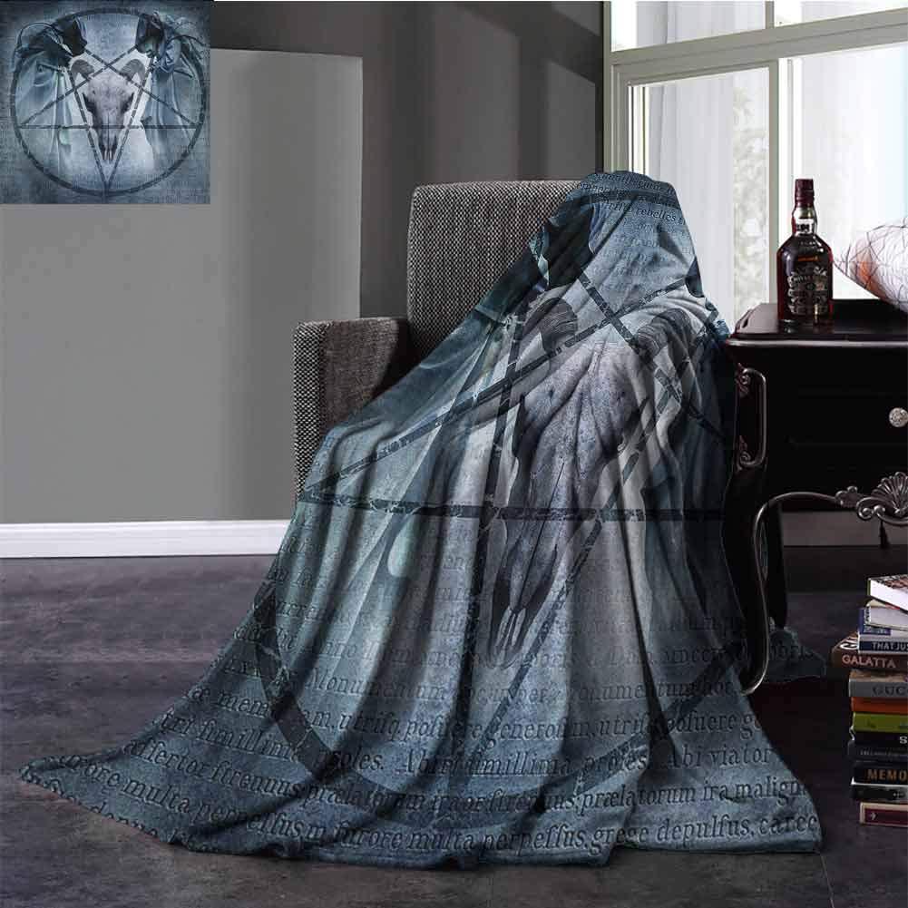 Horror House Nap Blanket Artwork with Pentagram Icon Goat Skull Devil Dream Hooded Figure Exorcist Image Warm Microfiber All Season Blanket Twin Size Blue 60x80 Inch