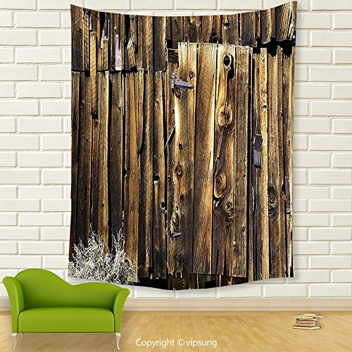 Vipsung House Decor Tapestry_Rustic Decor Oak Barn Siding Door Cracked Rusted Hinges Dated Timber Mansion Farmland Nobody Design Brown_Wall Hanging For Bedroom Living Room Dorm