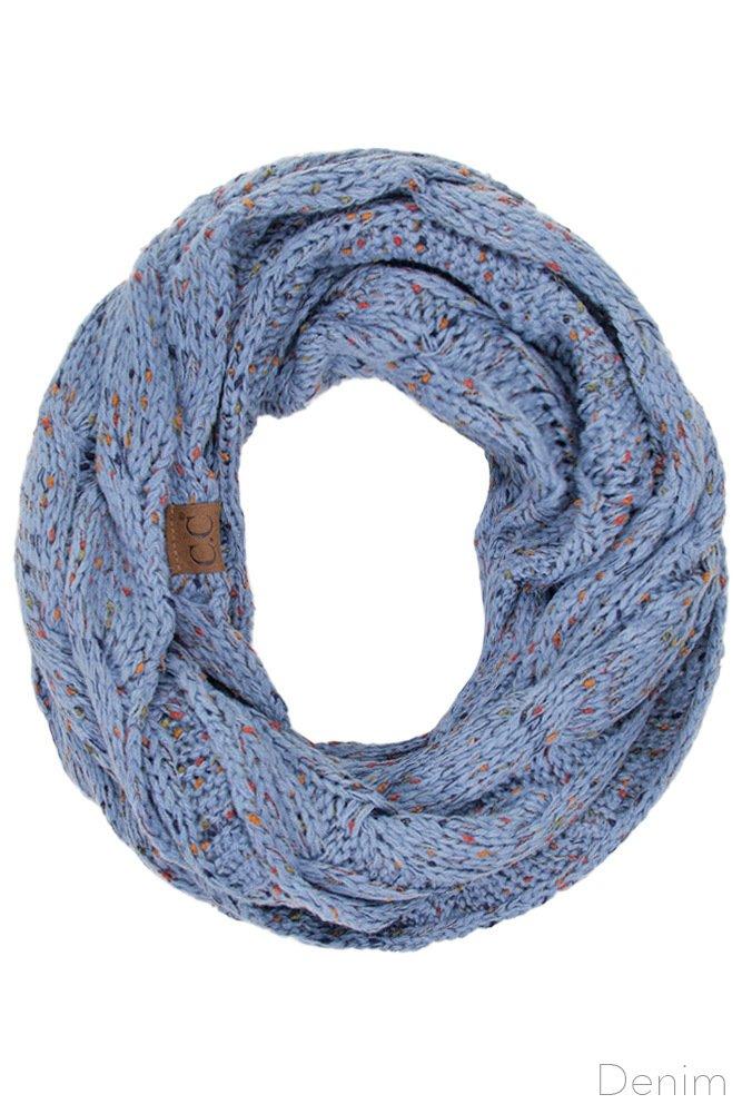 ScarvesMe C.C Confetti Soft Chunky Pullover Knit Long Loop Infinity Hood Cowl Scarf (Denim)