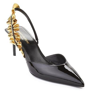 a660462bfa6 Saint Laurent Women's Edie Slingback Patent Leather High Heel Shoes Black:  Amazon.co.uk: Shoes & Bags