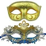 light blue mardi gras mask - New and Old Mountain Couple Masquerade Mask Venetian Halloween Costume Mask Mardi Gras Mask (Gold+Gold - Light Blue)