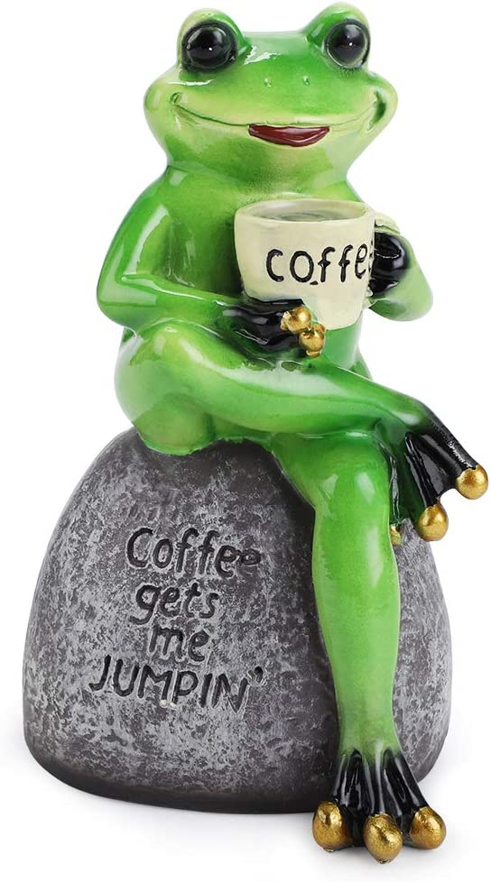 JuxYes Creative Craft Resin Frog Figurine Decor, Frog Sitting On Stone Statue Drinking Coffee Sculpture Statue, Personalized Collectible Figurines Mascot Frog for Indoor Outdoor Garden Decoration
