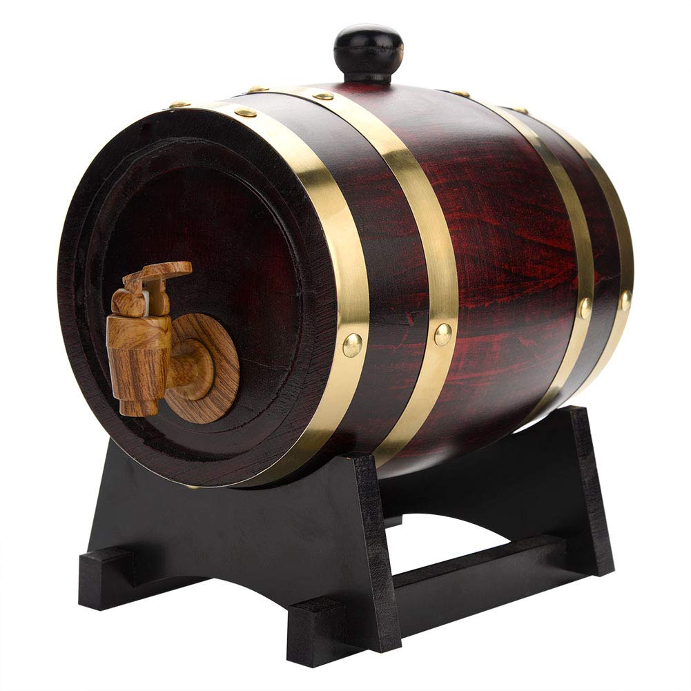 1.5L Oak Barrel, Whiskey Wood Oak Barrel Dispenser Pressure Tested for Leaks Storage for Whiskey, Brandy, Tequila, Rum Port