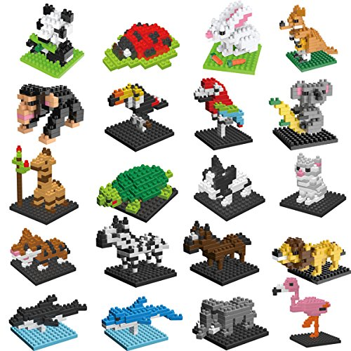 FlyHawk Animal Nanoblock Mini Building Blocks Zoo Set 20 Styles for Girls Boys Birthday Gift Party Favors Goodie Bags Kids Prizes by FlyHawk