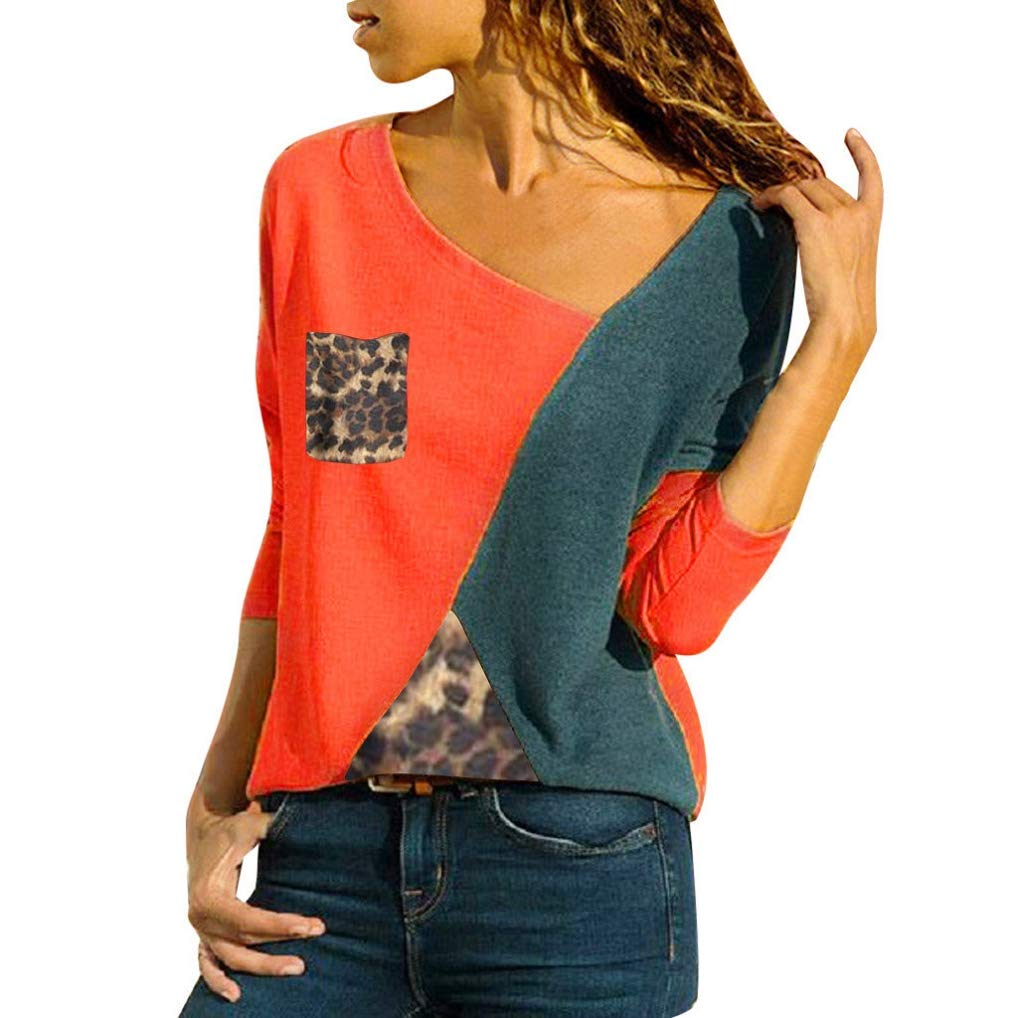 TUDUZ Sale Plus Size Women Long Sleeve T-Shirts Ladies Asymmetric Neck Patch Pocket Color Block Leopard Patchwork Pullover Sweatshirt Blouse