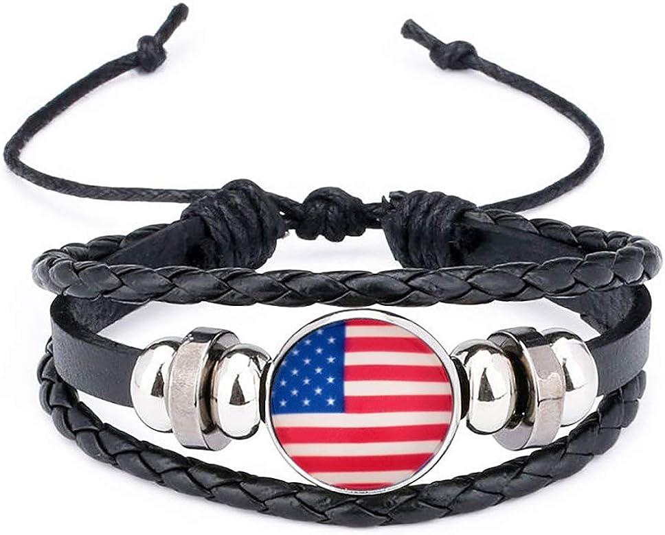 Rrunzfon Exquisita pulsera trenzada Copa Mundial Muñequera de cuero hecha punto para los aficionados al fútbol (Estados Unidos): Amazon.es: Joyería