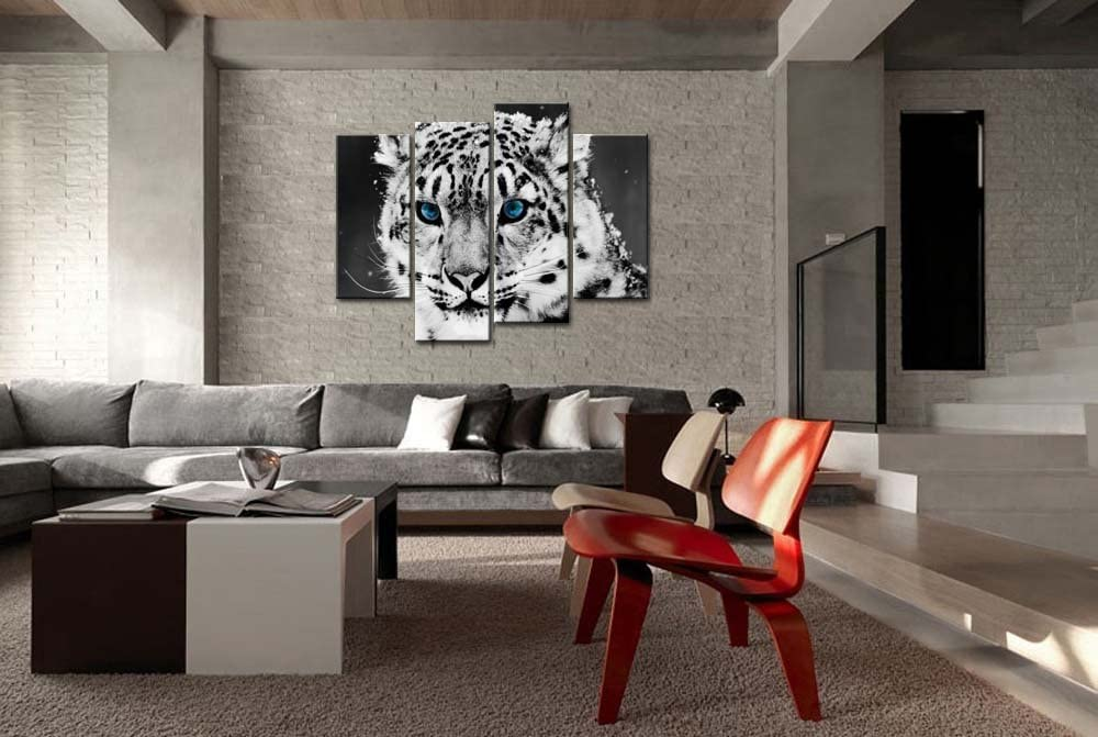 Black and White 4 Piece Wall Art Painting Blue Eye Snow Leopard Prints On Canvas The Picture Animal Pictures Oil for Home Modern Decoration Print Decor/…