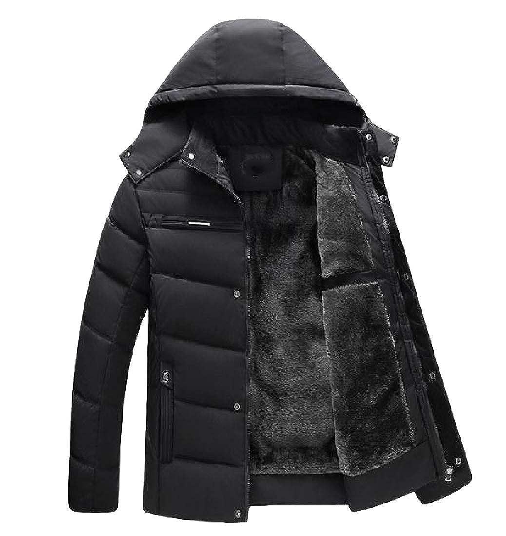 Vska Men Casual Thicken Warm Winter with Hood Fleece Jacket Coat