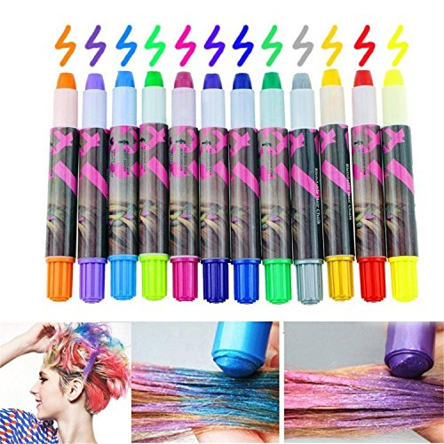 HMILYDYK Girls Hair Chalk Vibrant Temporary Non-Toxic Hair Color Washable Hair Dye Set Toys Gifts for Halloween Dressing Party Fans Cosplay DIY, 12 Pcs