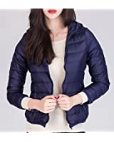 Fulok Womens Slim Hooded Ultralight Puffer Outwear Down Coat Jacket