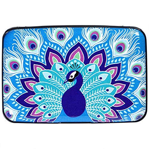 Aluminum Wallet RFID Blocking Slim Metal Credit Card Holder Hard Case (Beautiful Peacock)