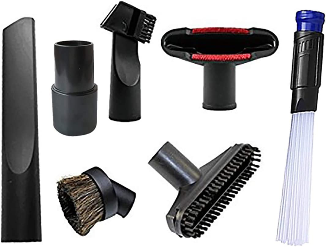 "KINW Vacuum Dusty Brush Vacuum Attachments Accessories for 1 1/4"" inch & 1 3/8"" inch Standard Hose - Crevice, Upholstery Brush, Dust Brush Tool and Adapter 7 Pcs"