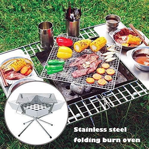Grill BBQ portable, pliable Barbecue au charbon, 304 multifonction en acier inoxydable Gril avec sac de rangement for pique-nique en plein air Jardin Terrasse Camping Voyage lili
