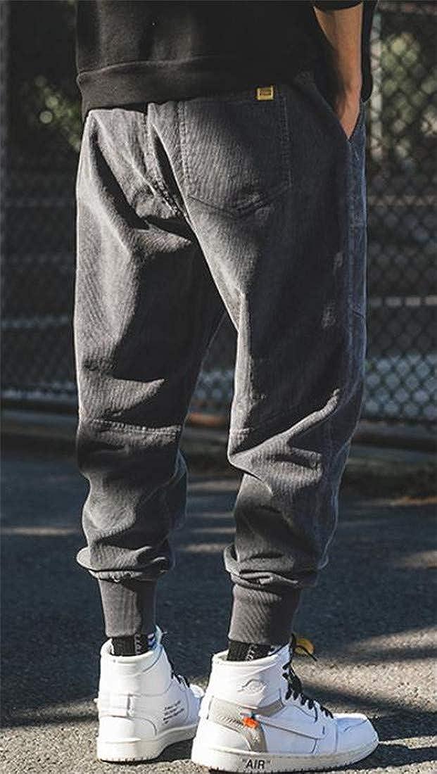 XiaoTianXinMen XTX Men Elastic Waist Corduroy Jogger Hip Hop Harem Casual Pants
