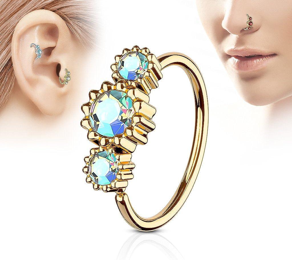 Amelia Fashion 14G Vintage Heart Rose Gold//Pink Navel Ring 316L Surgical Steel