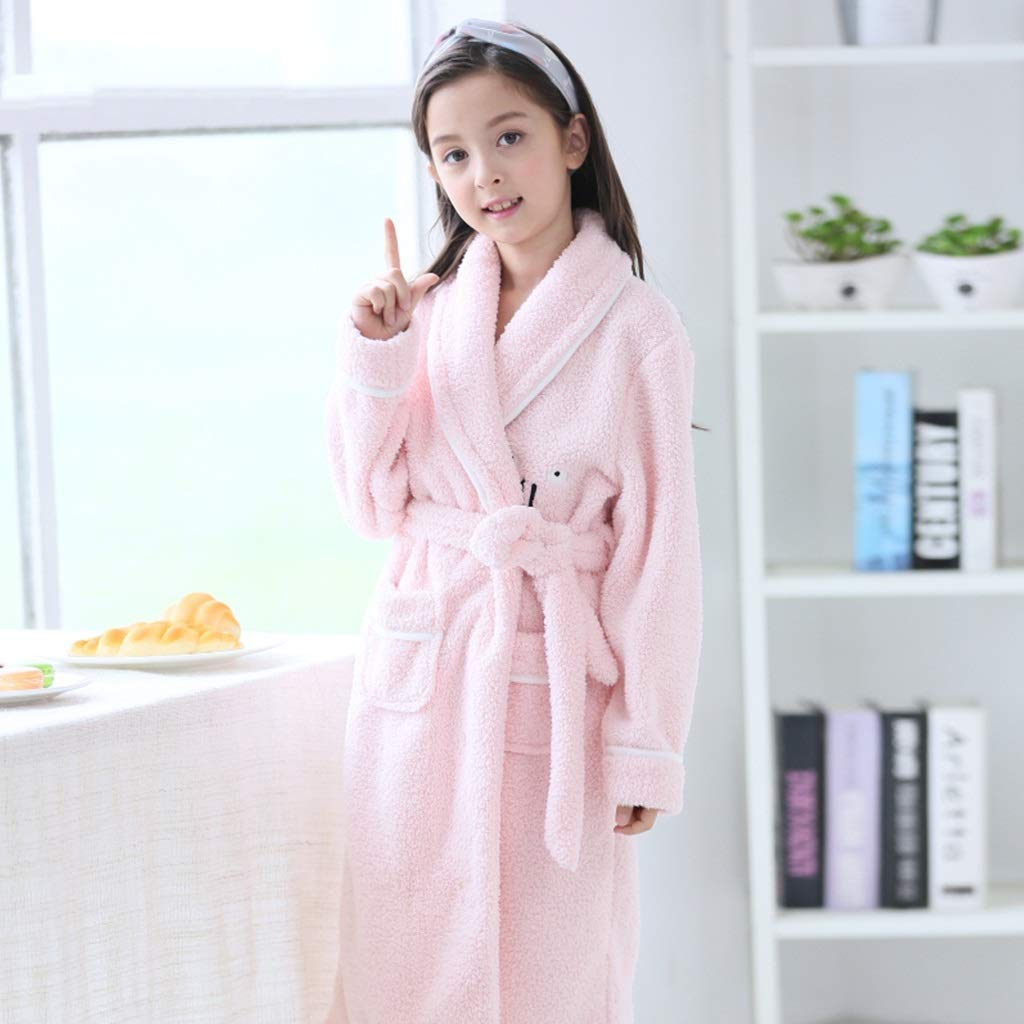 Pijamas Camisón para niños Batas de baño para niñas Pijamas de Franela otoño e Invierno Pijamas de niñas otoño e Invierno (Color : Pink, Size : 150cm): ...