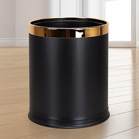 Luxury Metal Waste Bin ,Open Top Office Wastebasket,Double Layer Trash  Can,Round