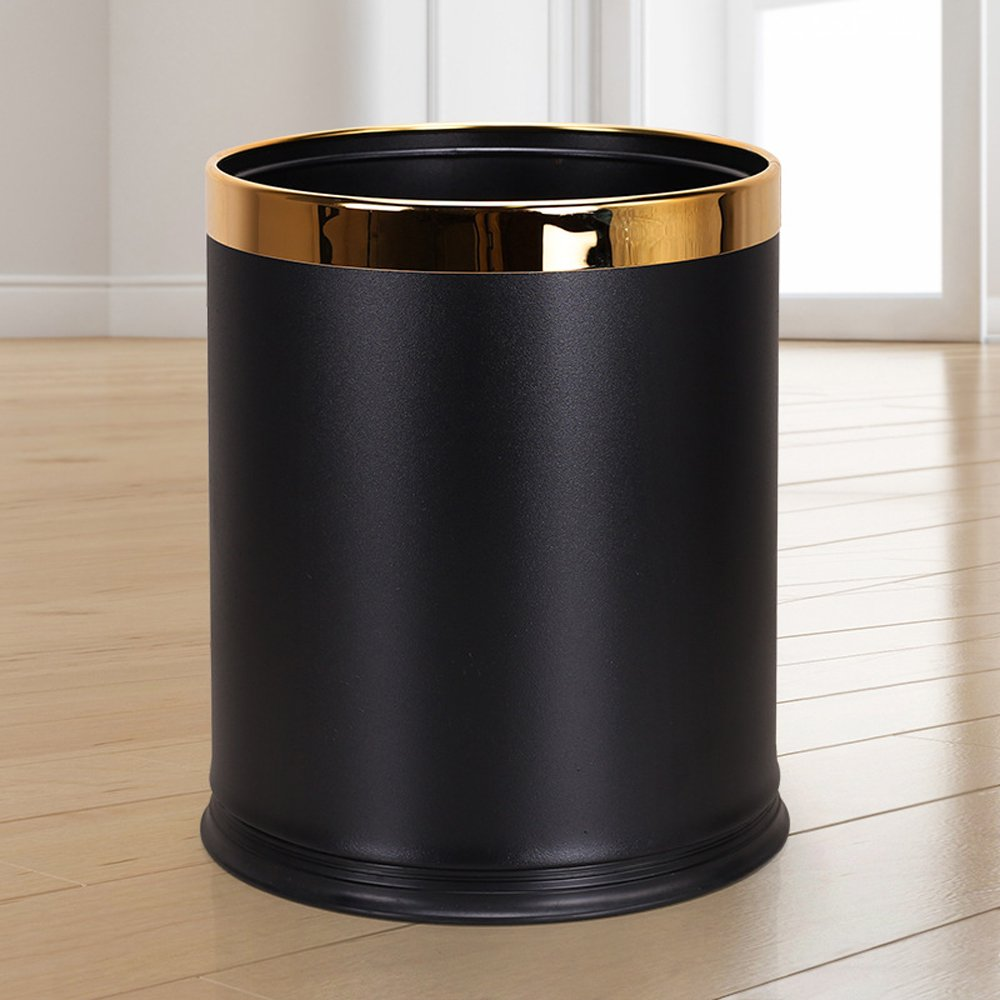 Luxury Metal Waste Bin with Leather Cover,Open Top Office Wastebasket,Double Layer Trash Can,Round Shaped (Black w/Gold Ring)