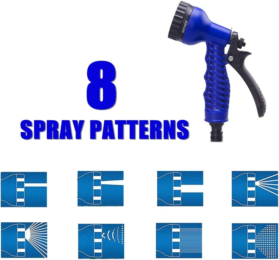 IROCH Expandable Garden Hose - Blue Expanding Flexible Water Hose Pipe with 8 Function Spray Gun/Hose Hanger/Storage Bag/Various Fittings (75FT) : Garden & Outdoor