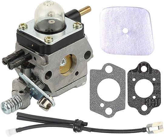Hayskill C1U-K54A C1U-K17 Carburetor w Air Filter Repower Kit for 2-Cycle Mantis 7222 7222E 7222M 7225 7230 7234 7240 7920 7924 Tiller//Cultivator Carb Replace 12520013122