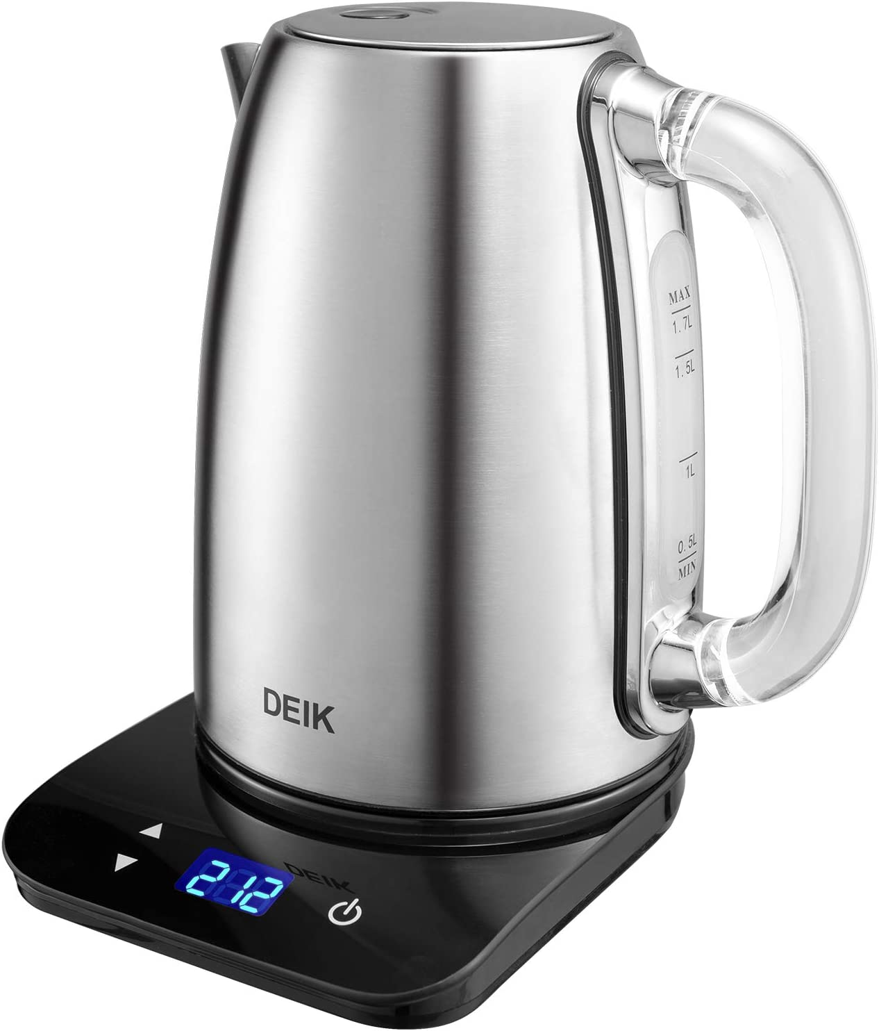 DEIK Electric Kettle, 2019 Upgrade Version 1.7L Temperature Control Tea Kettle with Digital LCD Base, Food Grade 304 Stainless Steel BPA-Free, 1500W Rapid Boil, Elegant Glass Handle for Safe Concept