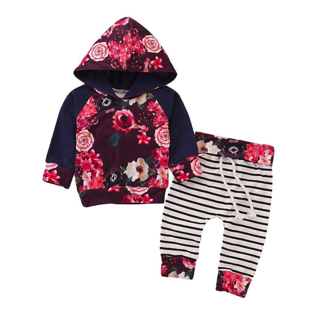 2Pcs Infant Baby Girls Floral Hooded Hoodie +Striped Pants Clothes Sets Outfits, New Baby Gift