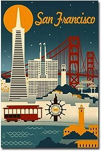 "San Francisco, California Travel Vintage Art Refrigerator Magnet Size 2.5"" x 3.7"""