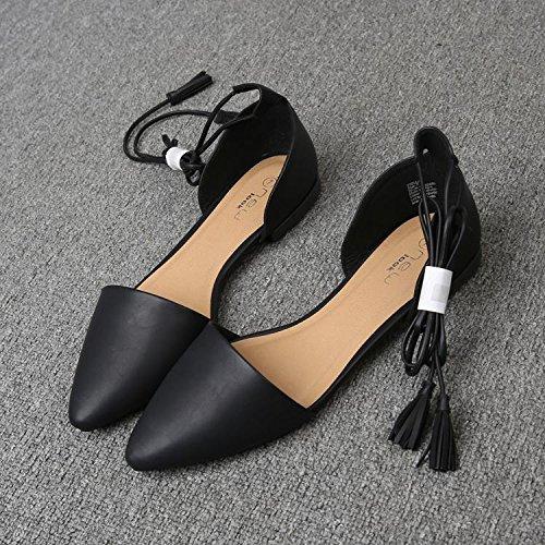 &qq Las sandalias planas puntiagudas, los lazos femeninos con los zapatos romanos, los zapatos ocasionales atractivos y cómodos, observan por favor que un poco grande 40