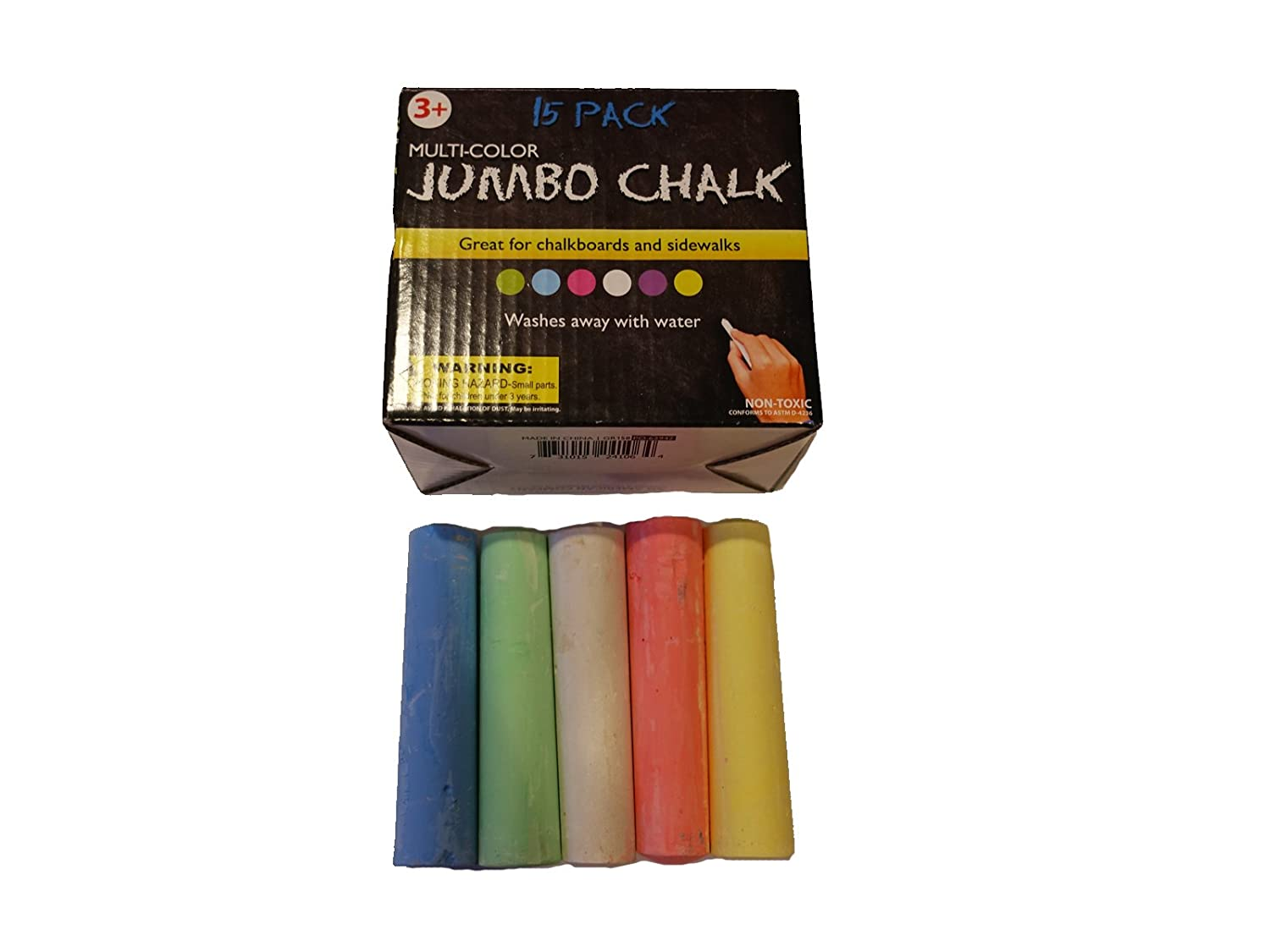 Qornerstone Kid's Jumbo Chalk Set – Perfect For Outdoor or Indoor Fun – Pack of 15 Pieces of Giant Chalk – Great For Kids or Adults! - Assorted Vibrant Colors Kole
