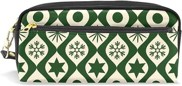 Bonipe - Estuche para lápices con estampado geométrico de Navidad, color verde: Amazon.es: Oficina y papelería