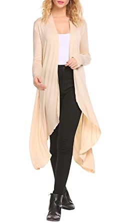 SimpleFun Women's Long Maxi Cardigan Sweater Casual Open Front ...