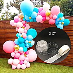 2 Rolls Balloon Arch Strip 16ft Balloons Garland Balloon Decorative Strip with Glue Dot for Birthday Wedding Event Halloween Christmas Decorations