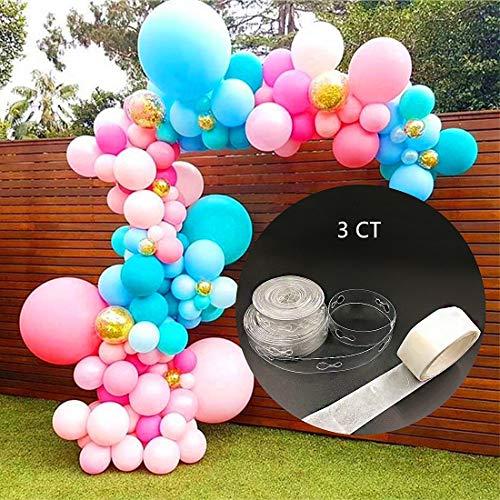 2 Rolls Balloon Arch Strip 16ft Balloons Garland Balloon Decorative Strip with Glue Dot for Birthday Wedding Event Halloween Christmas Decorations