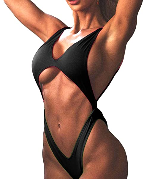 1f980e39415 KIWI RATA Women Cut-Out One Piece Bandage Monokini Cross Back Sexy Backless  Thong Trikini