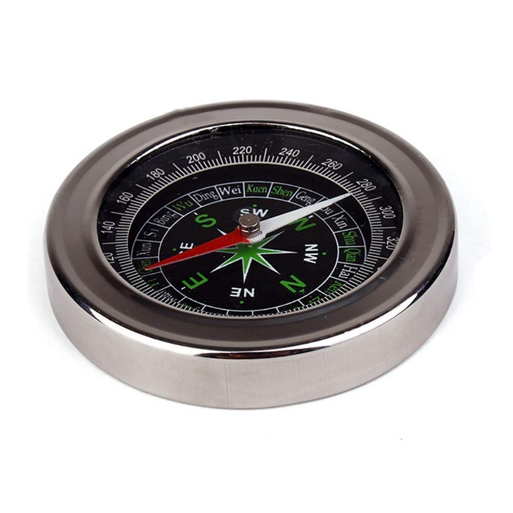 Lightclub Portable Pocket Watch Style Outdoor Camping Hiking Metal Navigation Compass - Silver