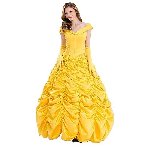 La Belleza de Halloween para Adultos y la Bestia Traje de Princesa Bell Belle Disfraz de Fiesta Disfraces Vestido de Princesa Belle (Falda + Guantes)