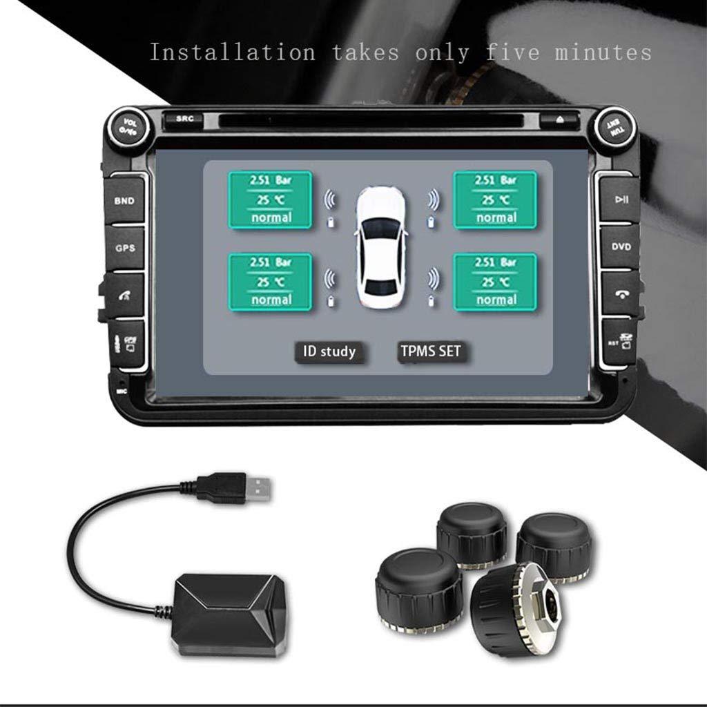 Trasmissione Wireless con 4 sensori Esterni TPMS Sistema di Allarme di monitoraggio della Pressione dei Pneumatici William-Lee USB Android Controllo della Pressione dei Pneumatici