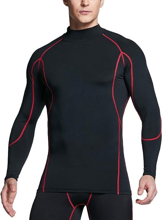 TSLA Mens Thermal Compression Shirt Long Sleeve Baselayer Mock Long//Face Mask