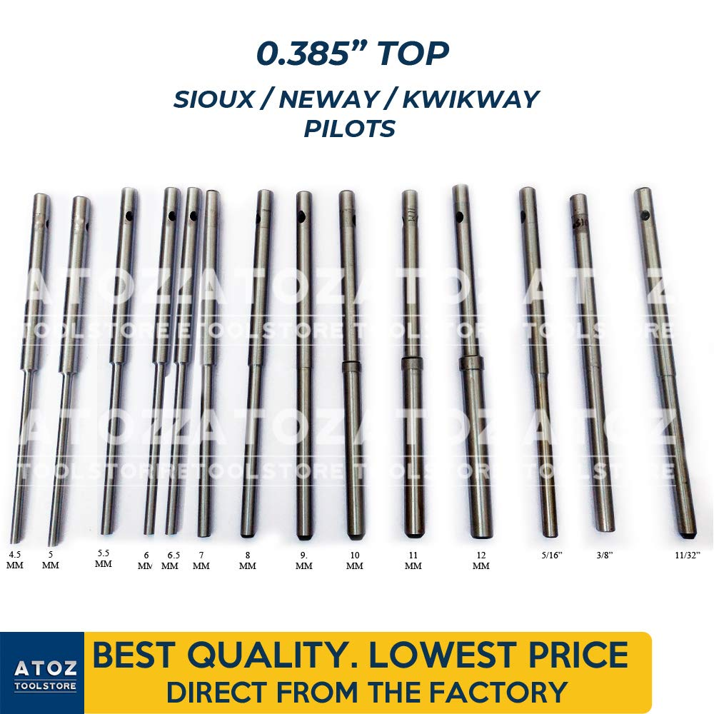 ATOZ.Toolstore 0.385'' Top Kwikway/Neway/Sioux Valve Seat Grinder Pilots Grinding Stems Hardened 14x Set (4.5mm-11/32) Express Shipping