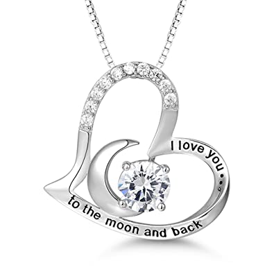 925 Sterling Silver I Love You To The Moon And Back 2 Piece Pendant Necklace 18